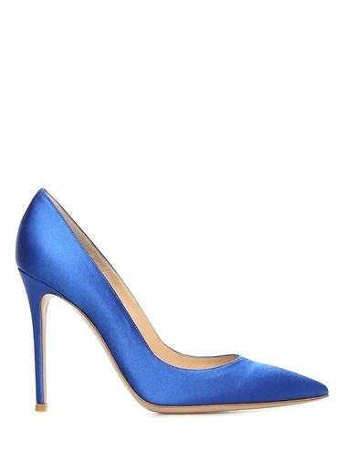 Gianvito Rossi %100 İpek Stiletto Ayakkabı Mavi